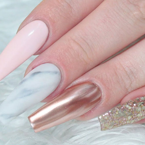 Rose Gold Nails - Gold Glitter Nail Designs