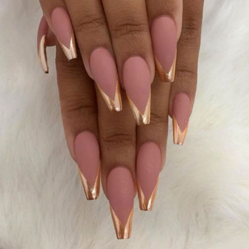 Rose Gold Nails Matte - Rose Gold Nails
