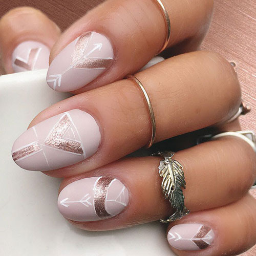 Rose Gold Nails - Rose Gold Glitter Accents - Geometric Nail Art