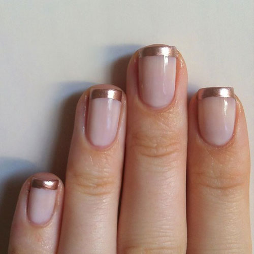 Rose Nail Polish with Gold Manicure - Gold Nail Designs