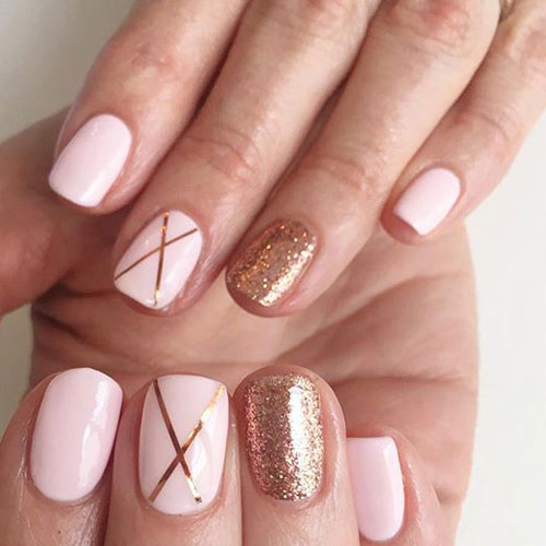 Rose and Gold Nails - Glitter Nail Art