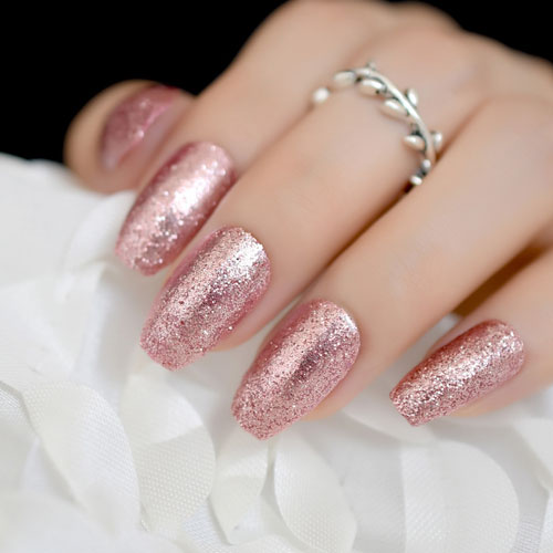 Rose Gold Nails Coffin - Rose Gold Glitter Nail Art