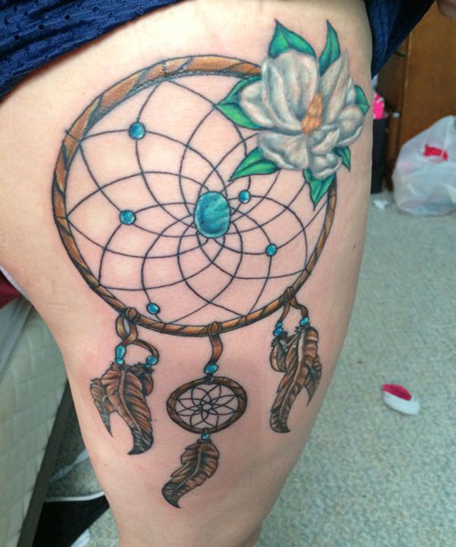 Simple Dreamcatcher Tattoo - Thigh Tattoo For Women