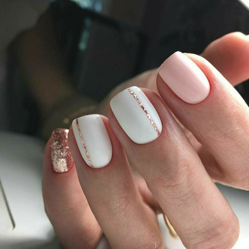 Simple Pink and Gold Nails - Rose Gold Glitter