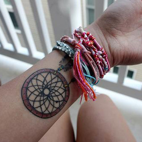 Simple Small Dream Catcher Tattoo On Wrist - Wrist Tattoos For Women