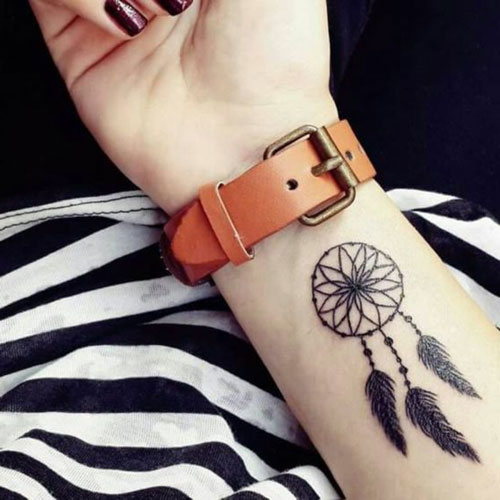 Small Dream Catcher Tattoo On Arm