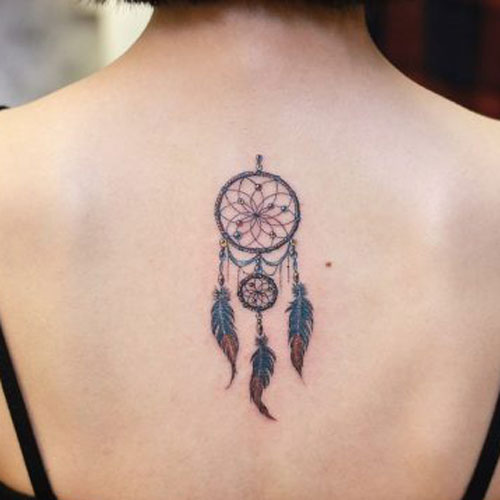 Small Dream Catcher Tattoo On Back