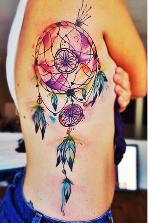 Watercolor Dreamcatcher Tattoo - Dream Catcher Tattoo On Ribs