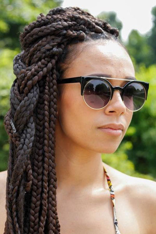 Box Braid Side Hairstyle -Best Braided Black Hairstyles