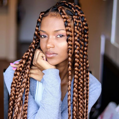 Colored Box Braids - Best Braided Black Hairstyles