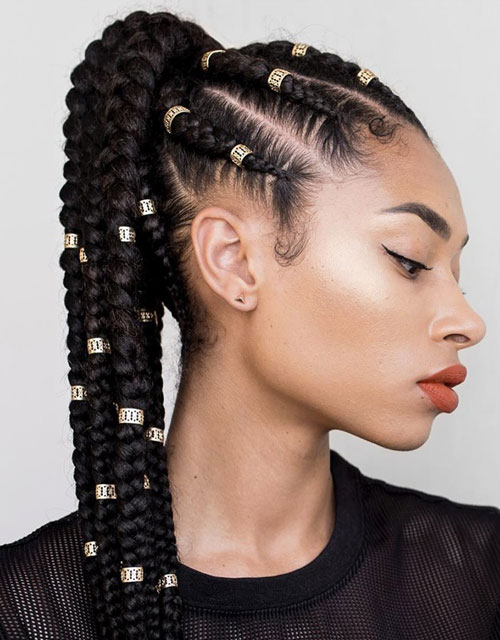 Feed In Ponytail Braids - Best Braided Black Hairstyle Ideas