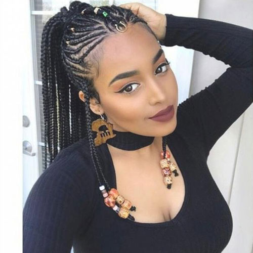 Jeweled Cornrow Updo - Best Braided Black Hairstyles