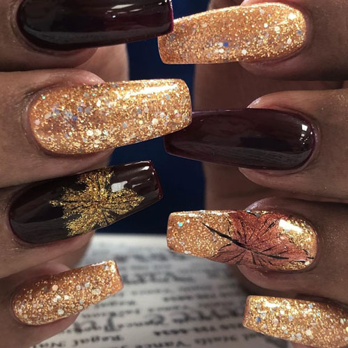 Bold Thanksgiving Nail Art - Glitter Nails