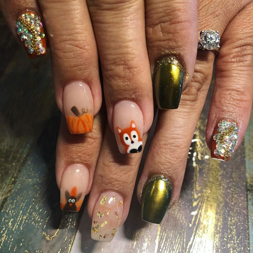 Creative Thanksgiving Nails - Pointy Nail Designs - Metallic Nails