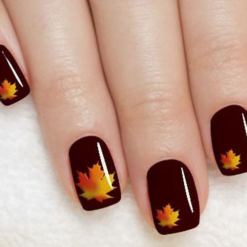 Fall Nail Colors - Thanksgiving Nail Color Ideas - Leaves Nails