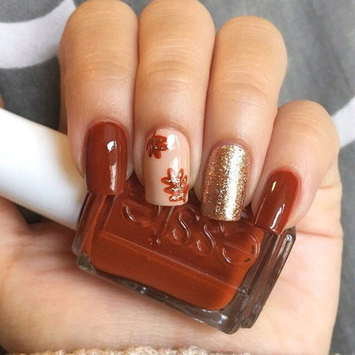 Fall Nail Colors - Thanksgiving Nails - Leaves - Glitter Nails