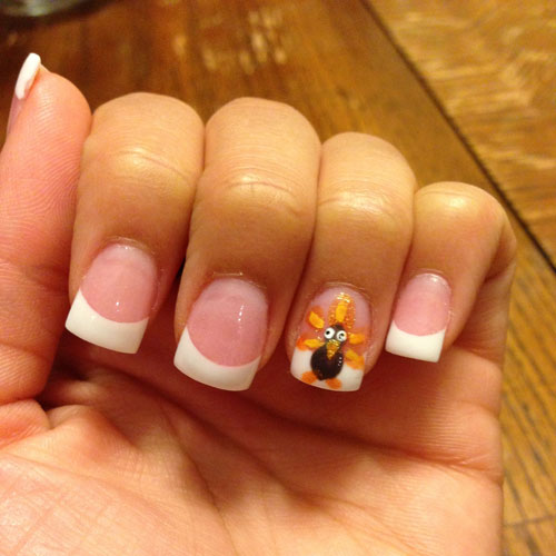 French Tip with Turkey - Thanksgiving Nails - Simple Nail Designs