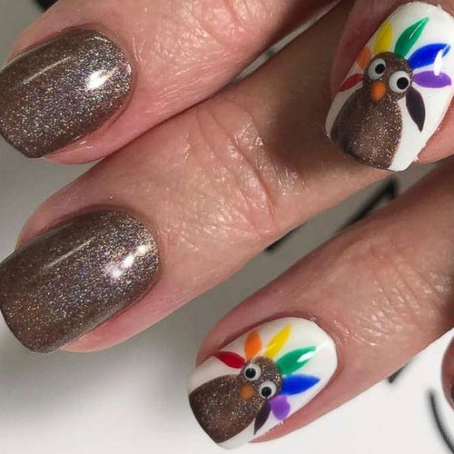 Fun Thanksgiving Nails - Accent Nail Design - Thanksgiving Nail Colors