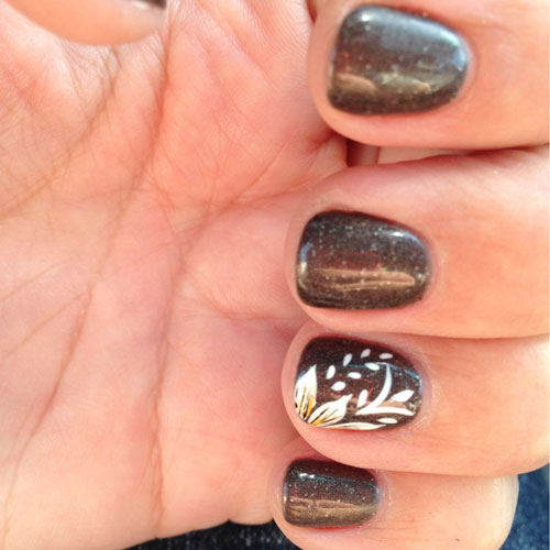 Glitter Brown Nails - Thanksgiving Nail Art