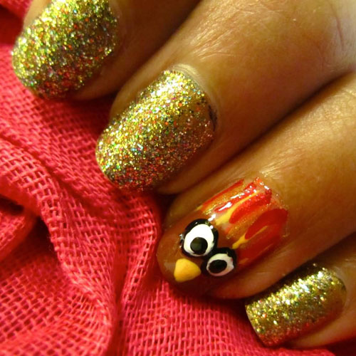 Gold Glitter Nails with Accent Turkey Nail - Thanksgiving Nails