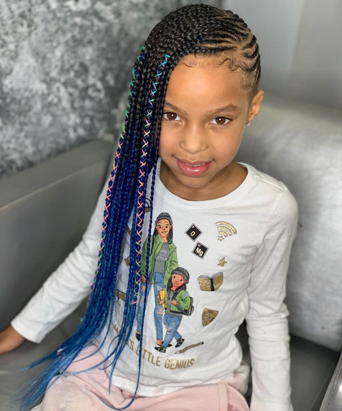 Long Blue Ombre Lemonade Braids