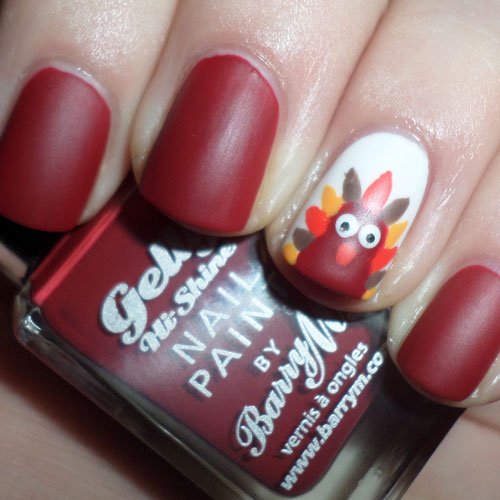 Matte Wine Color Nails - Turkey Accent Nails - Thanksgiving Nails