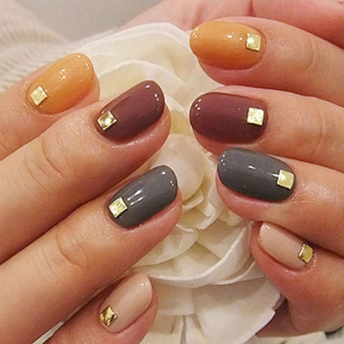 Modern Simple Thanksgiving Nail Art - Metallic Accent Fall Nail Color