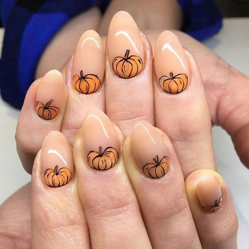 November Nails - Pointy Nail Designs - Peach Nail Designs - Halloween Nail Colors