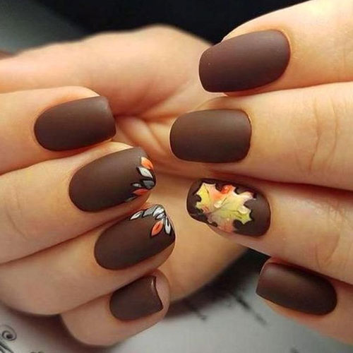 Simple Short Fall Nail Color Ideas - Thanksgiving Nails - Matte Brown Nails