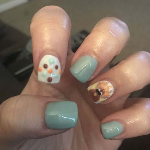 Teal Thanksgiving Turkey Nail Designs