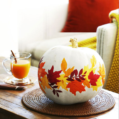 Thanksgiving Decor - Painted Pumpkin - Leaves Decor