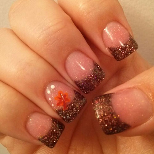 Thanksgiving Glitter French Tip - Thanksgiving Nail Designs and Ideas