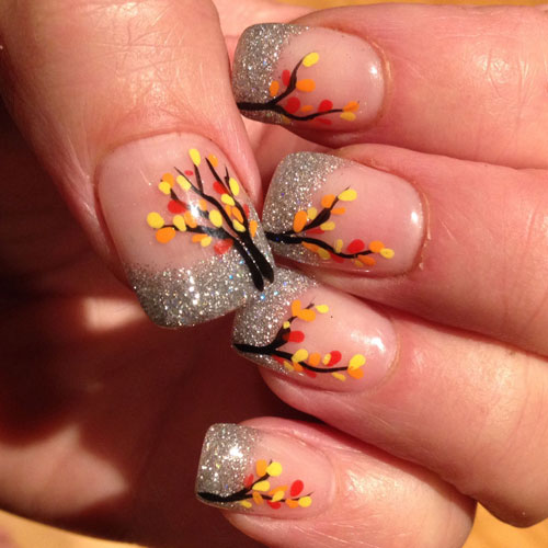 Thanksgiving Nail Art -Glitter Tree Nail Color Ideas