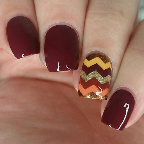 Thanksgiving Nail Art - Wine Color Nails - Fall Nail Colors