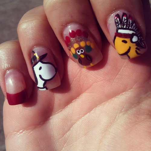 Thanksgiving Nail Designs - Peanut Charactaer Nails