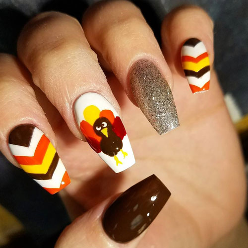Thanksgiving Nails - Coffin Nail Art - Different Color Nails