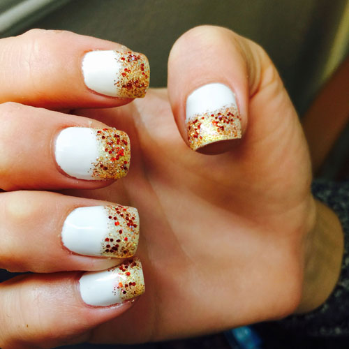 Thanksgiving Nails - Nail Color Ideas - Glitter French Tip Nail Ideas