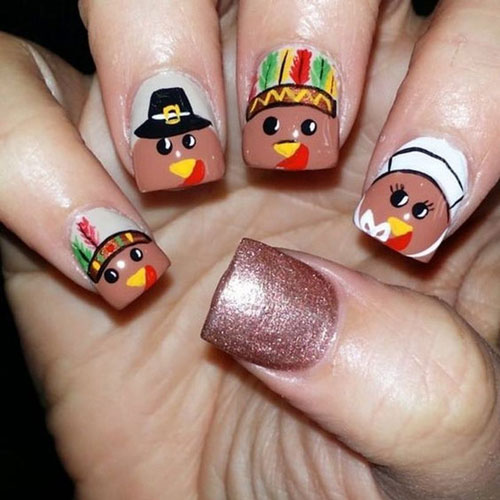Thanksgiving Nails - Thanksgiving Colors - Turkey Pilgrim Nails