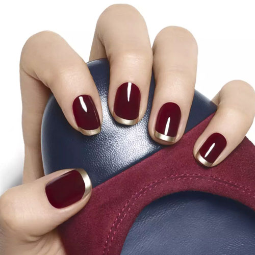 Thanksgiving Nails - Wine Color Nails - Gold French Tip - Fall Nail Colors