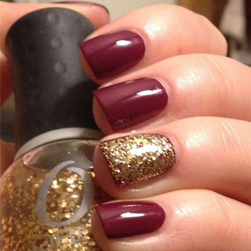 Wine Color Nails - Thanksgiving Nail Colors - Glitter Nail Accent