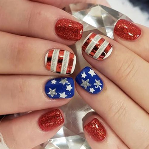 4th of July Nail Art Designs - Red White and Blue Nails - Stars and Stripes Nails