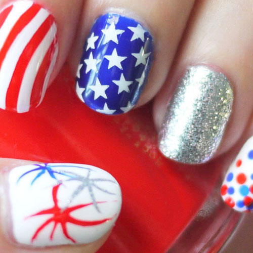 4th of July Nail Art - Fireworks American Flag Nail Designs