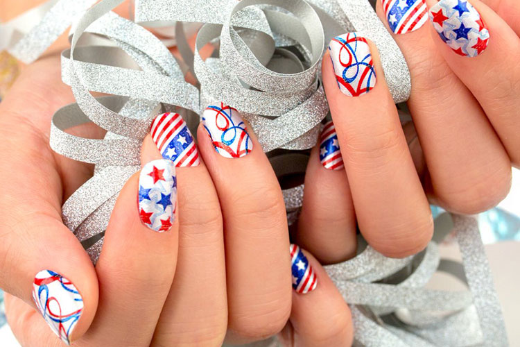 4th of July Nails - Fourth of July Nails - White Sparkly Nails