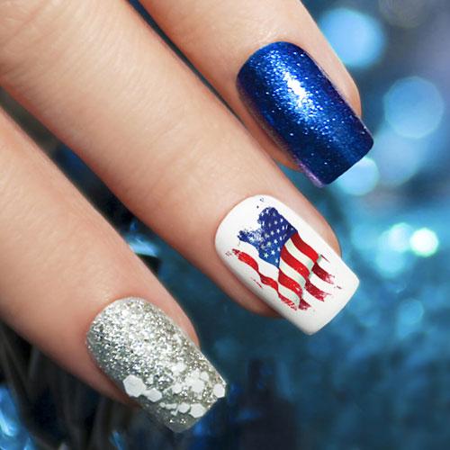American Flag Nail Art - Blue and White Nails - Patriotic Nails - 4th of July Nails