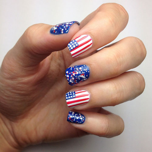 American Flag Nails - Sparkly Blue Nail Designs - Fourth of July Nails