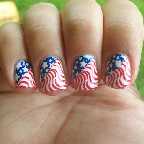 American Flag Swirl Nail Art Design - Patriotic Nails