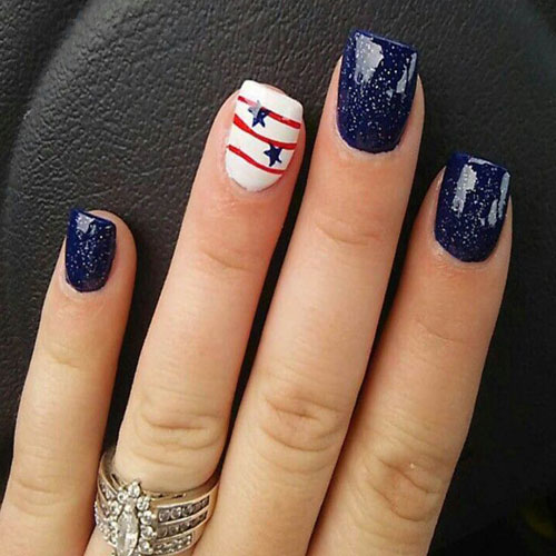 Blue Nail Designs - 4th of July Accent Nail