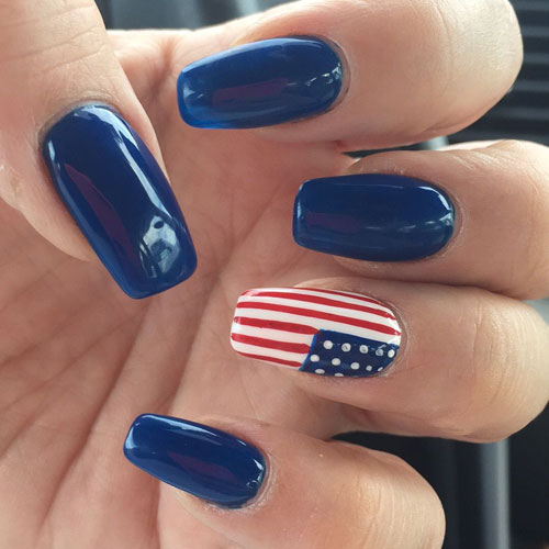 Blue Nail Designs - American Flag Accent Nail