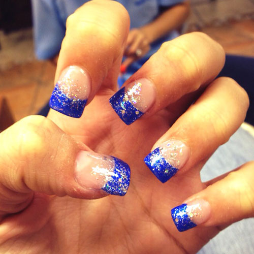 Blue Nail Designs - Blue French Manicure - 4th of July Nail Art Designs