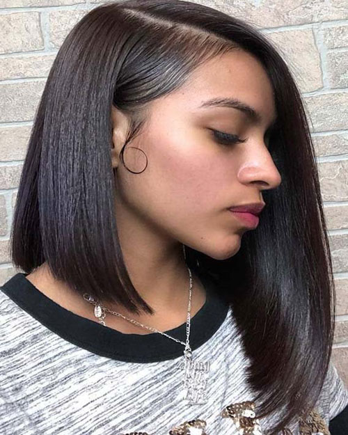 Bob Weave Hairstyles - Asymmetrical Black Hair Bob